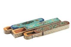 Tres abren casos de madera del khatam imagen de archivo