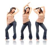 Tres actitudes de la mujer del baile Foto de archivo libre de regalías
