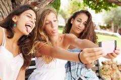 Tres adolescentes que se sientan en el banco que toma Selfie en parque Imagen de archivo libre de regalías