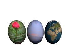 Tres adornaron los huevos de Pascua foto de archivo