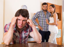 Tres adultos infelices que tienen problemas Fotografía de archivo libre de regalías