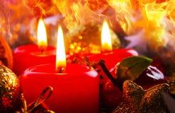 Tres Advent Candles Imagen de archivo libre de regalías