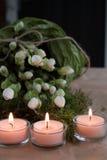 Tres Advent Candles Imágenes de archivo libres de regalías