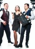 Tres agentes en el estudio foto de archivo libre de regalías