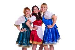 Tres alemanes/mujeres bávaras Imagen de archivo libre de regalías