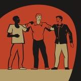 Tres amigos stock de ilustración