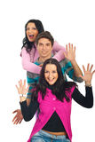 Tres amigos emocionados Foto de archivo libre de regalías