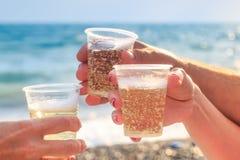 Tres amigos en la playa están bebiendo el vino espumoso Fotos de archivo