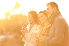 Tres amigos que consideran lejos la puesta del sol en invierno Fotos de archivo libres de regalías