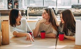 Tres amigos que tienen un gran rato en el café Imagenes de archivo