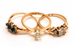 Tres anillos de oro Foto de archivo libre de regalías