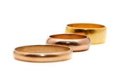 Tres anillos de oro Imagen de archivo