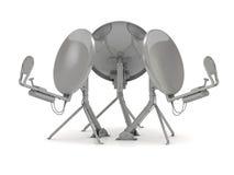Tres antenas parabólicas en diversas direcciones Imágenes de archivo libres de regalías