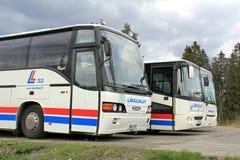 Tres autobuses parqueados Fotografía de archivo libre de regalías