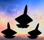 Tres aviones de combate en la formación Foto de archivo