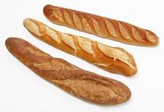 Tres baguettes franceses Foto de archivo libre de regalías