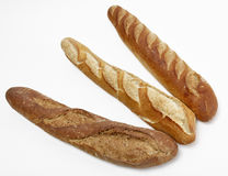 Tres baguettes franceses Imágenes de archivo libres de regalías