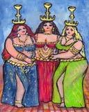 Tres bailarines de vientre Foto de archivo
