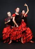 Tres bailarines en alineadas españolas Fotografía de archivo libre de regalías