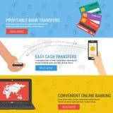 Tres banderas - actividades bancarias en línea libre illustration