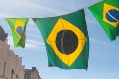 Tres banderas brasileñas Imagen de archivo libre de regalías