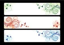 Tres banderas con el fondo floral del vector Fotos de archivo