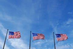 Tres banderas de Estados Unidos Fotografía de archivo libre de regalías