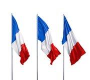 Tres banderas de Francia Imagen de archivo libre de regalías