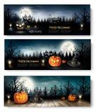 Tres banderas de Halloween del día de fiesta con las calabazas Fotografía de archivo