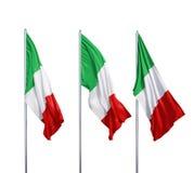 Tres banderas de Italia Imágenes de archivo libres de regalías