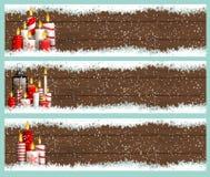Tres banderas de la Navidad con las velas y los copos de nieve stock de ilustración