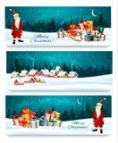 Tres banderas de la Navidad del día de fiesta con las cajas de un regalo stock de ilustración