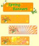 Tres banderas de la primavera con las flores de la primavera Imagenes de archivo