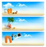 Tres banderas de las vacaciones de verano.