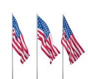 Tres banderas de los E.E.U.U. Foto de archivo
