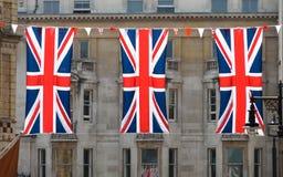 Tres banderas de Union Jack Foto de archivo libre de regalías