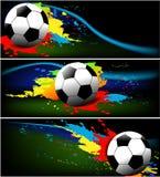 Tres banderas del balompié ilustración del vector