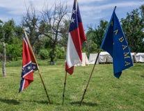 Tres banderas del Confederacy fotos de archivo