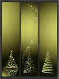 Tres banderas del vector de la Navidad con el árbol de navidad Imagen de archivo