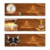Tres banderas horizontales del pirata libre illustration