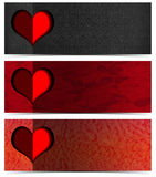 Tres banderas románticas Fotos de archivo libres de regalías