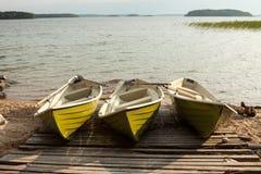 Tres barcos Imágenes de archivo libres de regalías