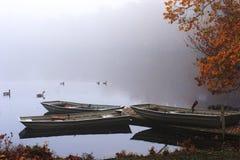 Tres barcos de fila en la niebla. Imagen de archivo libre de regalías