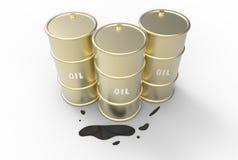 Tres barriles de aceite derramado Imagen de archivo libre de regalías