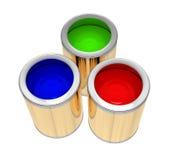 Tres baterías de pintura Foto de archivo
