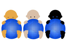 Tres bebés multirraciales Imágenes de archivo libres de regalías