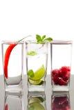 Tres bebidas alcohólicas con las frutas y las bayas Fotografía de archivo libre de regalías