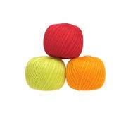 Tres bolas de hilo de algodón Fotos de archivo