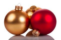 Tres bolas de la Navidad Imagen de archivo libre de regalías