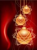 Tres bolas de la Navidad del oro Fotos de archivo libres de regalías